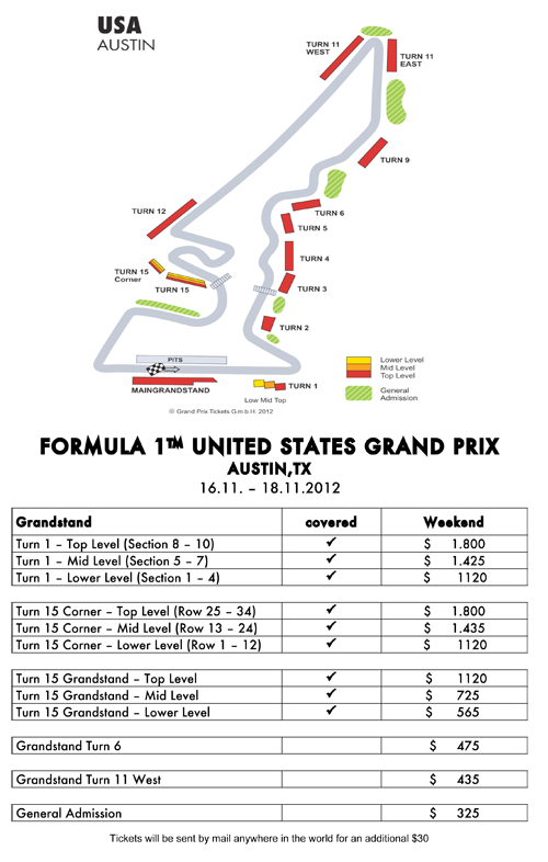 Tickets for Formula One in Austin.